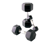 RUBBER COATED DUMBBELLS W/ ERGONOMIC HANDLES